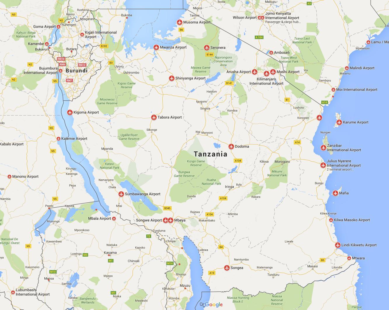 Tansania Lentokentat Kartalla Kartta Georgia Lentokentat Ita